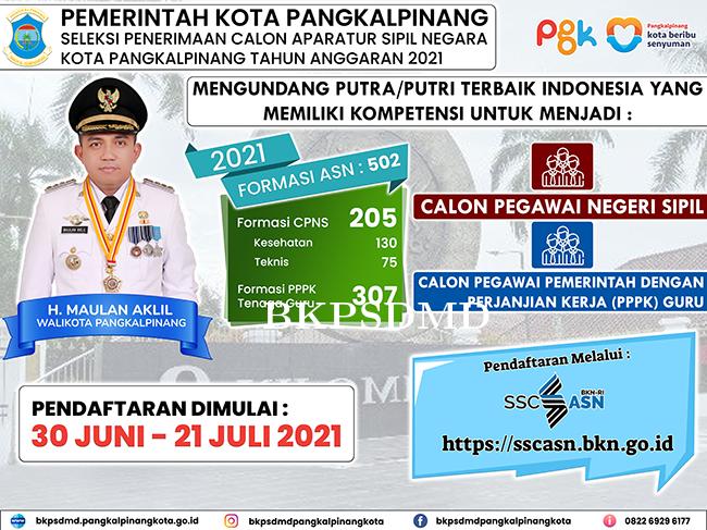 PENGUMUMAN SELEKSI PENERIMAAN CALON APARATUR SIPIL NEGARA PEMERINTAH KOTA PANGKALPINANG TA 2021